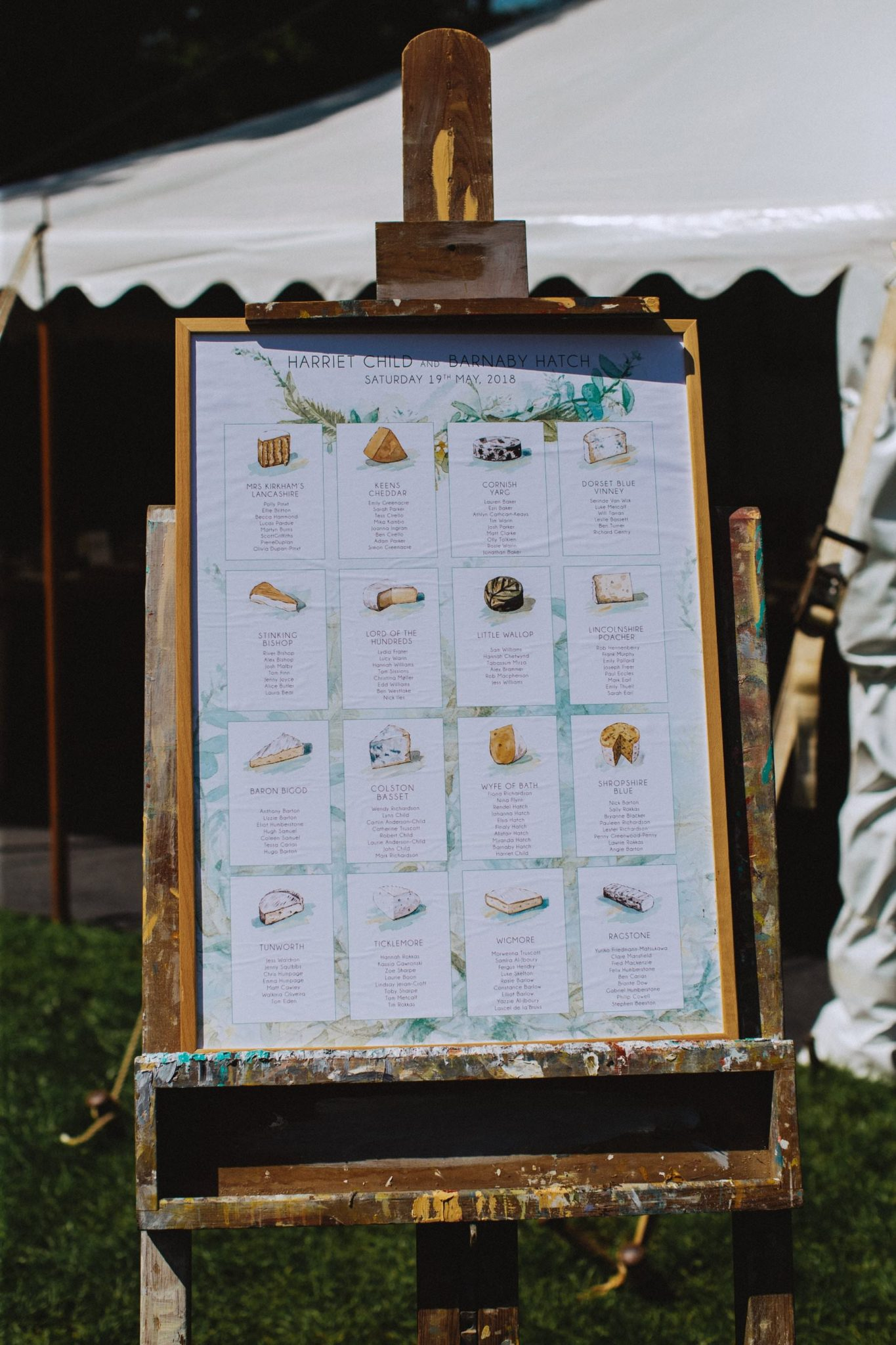cheese themed table plan for wedding in bath somerset