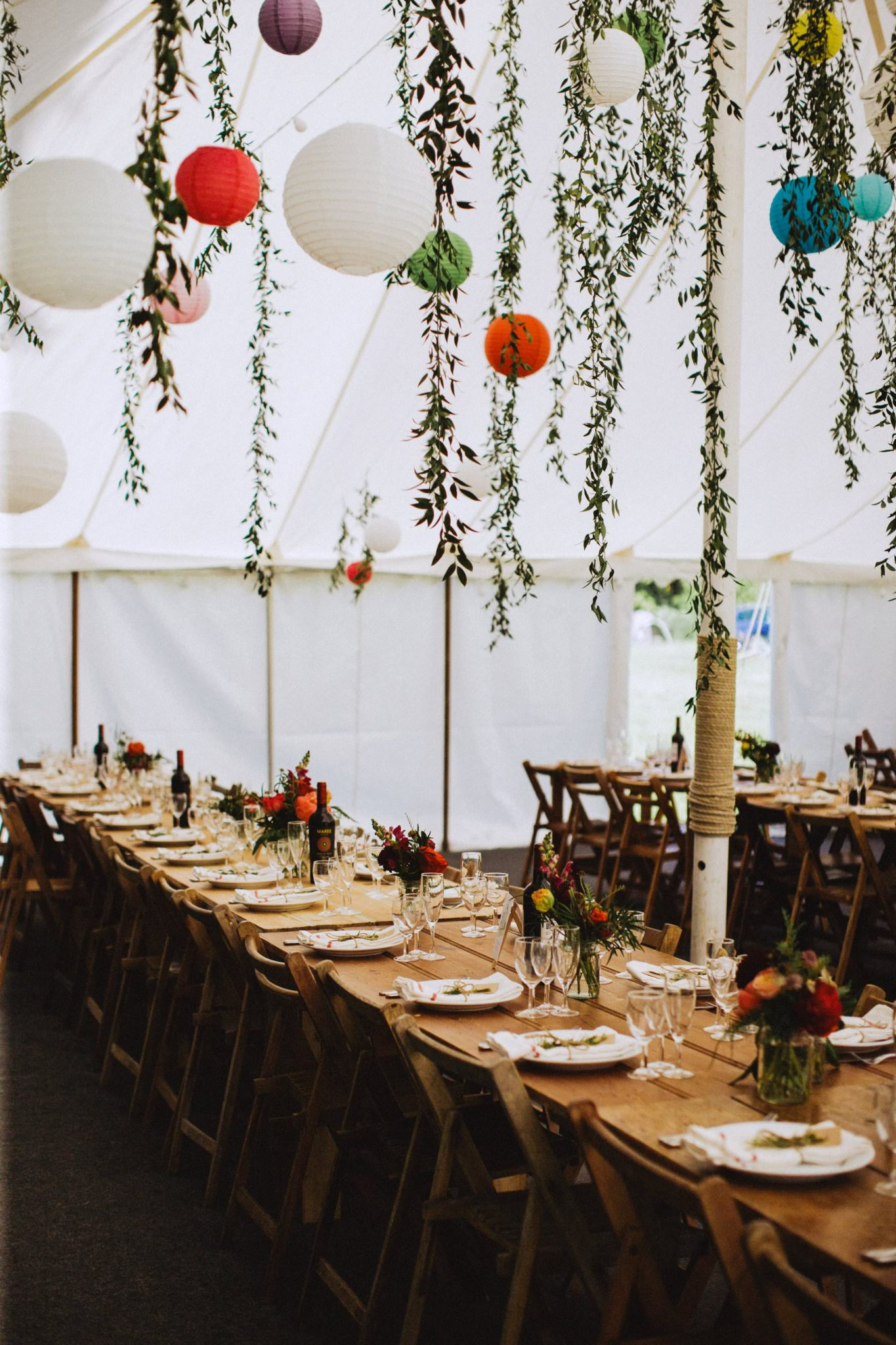 long table arrangement for alternative wedding in somerset