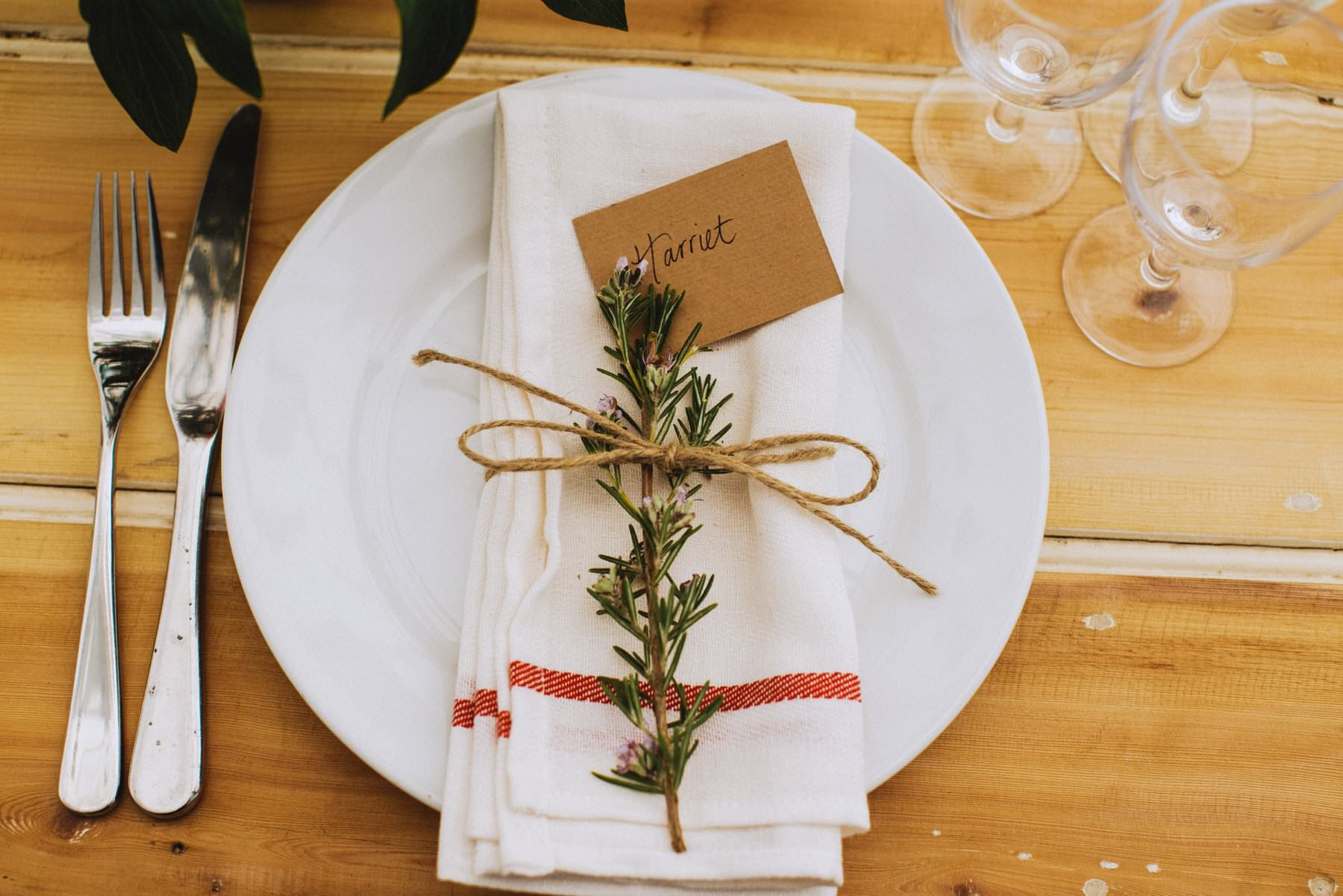 rosemary decor for place names at outdoor wedding in bath somerset