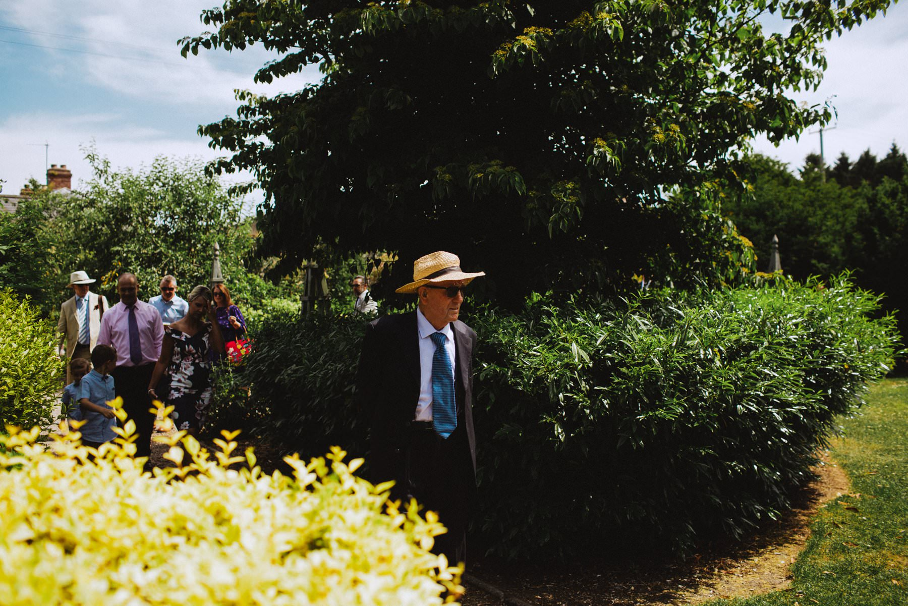 elderly gentleman arrives to wedding at larchfield estate northern ireland