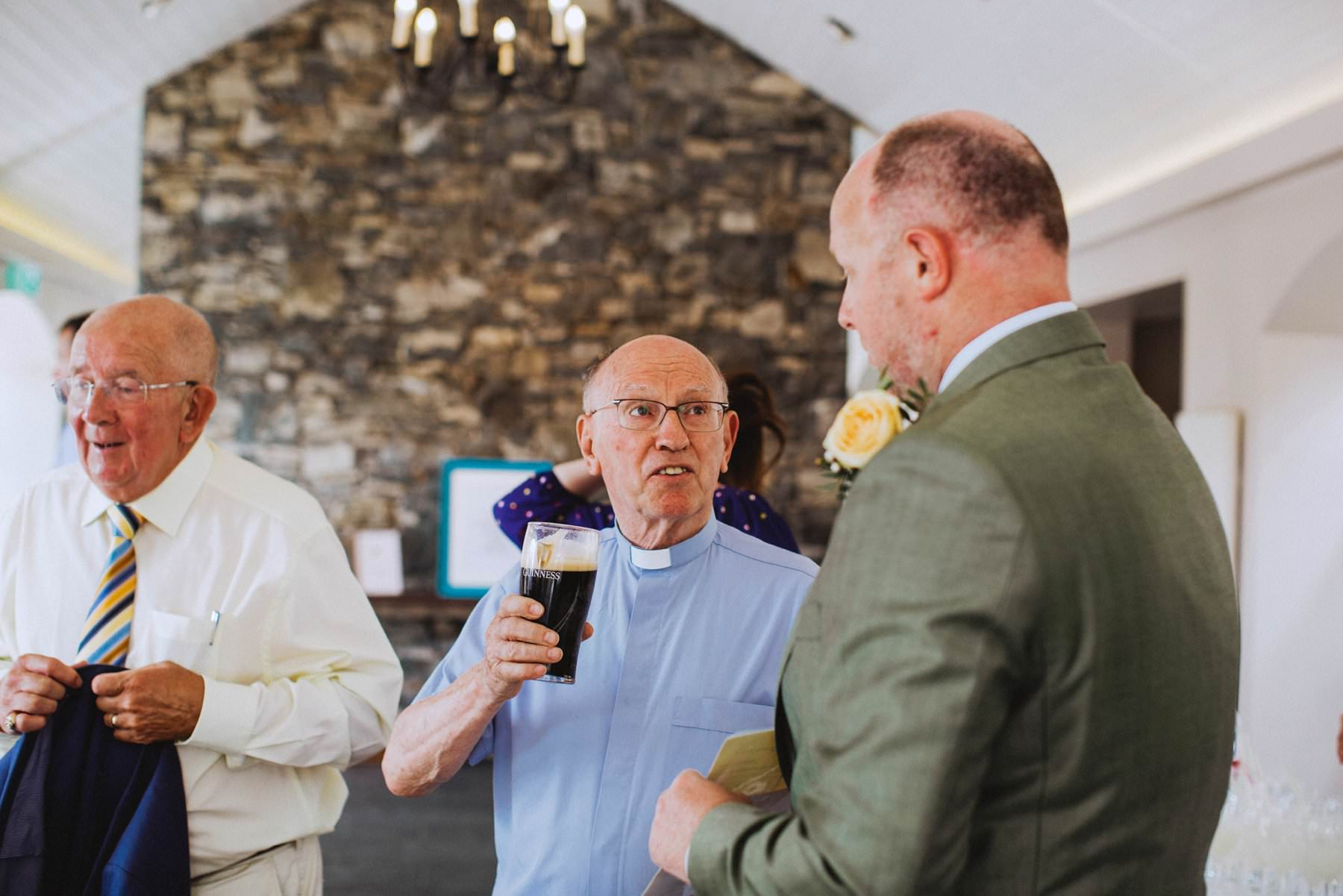 minister drinks pint of beer at wedding, funny