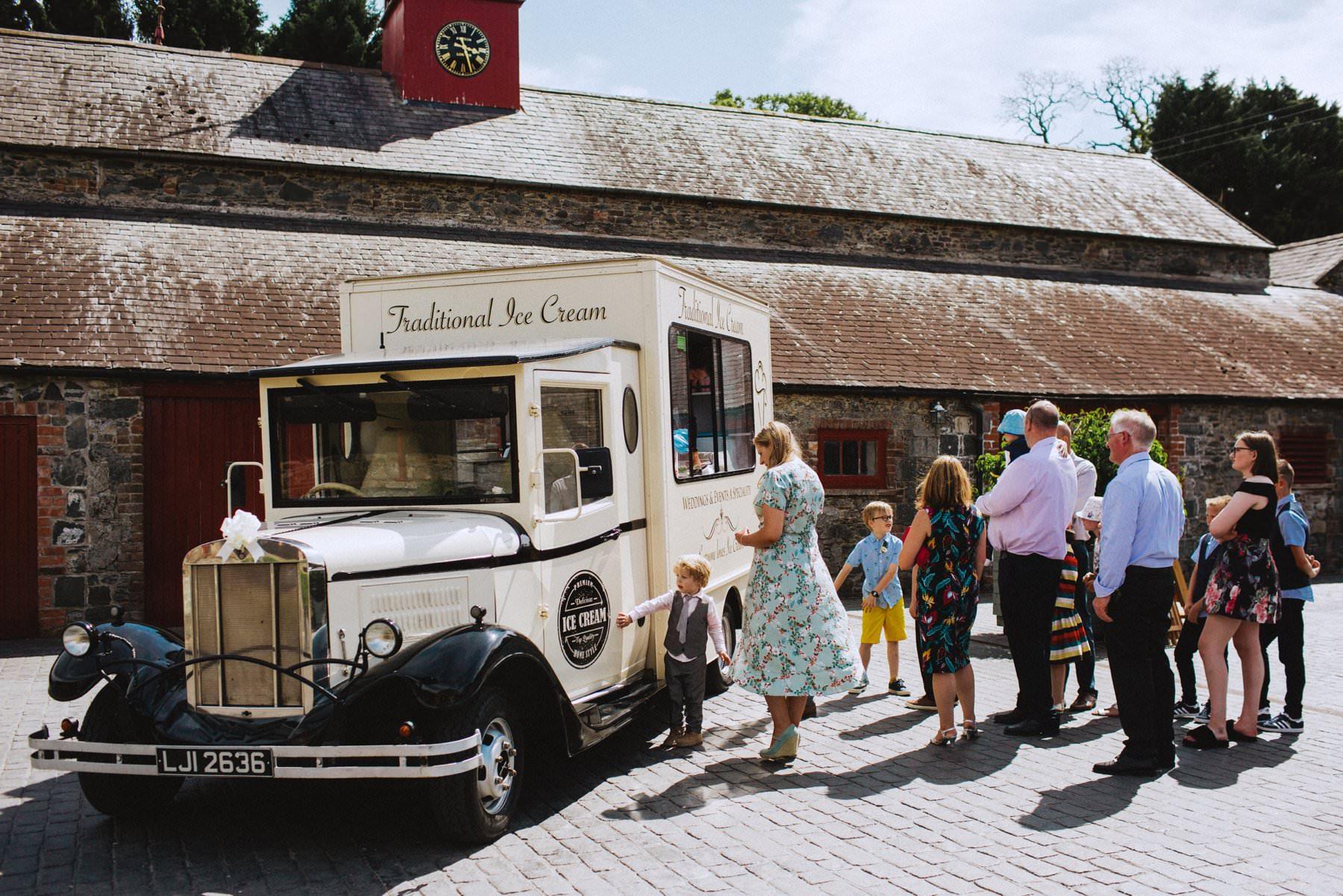 vintage ice cream van for wedding guests at larchfield estate northern ireland