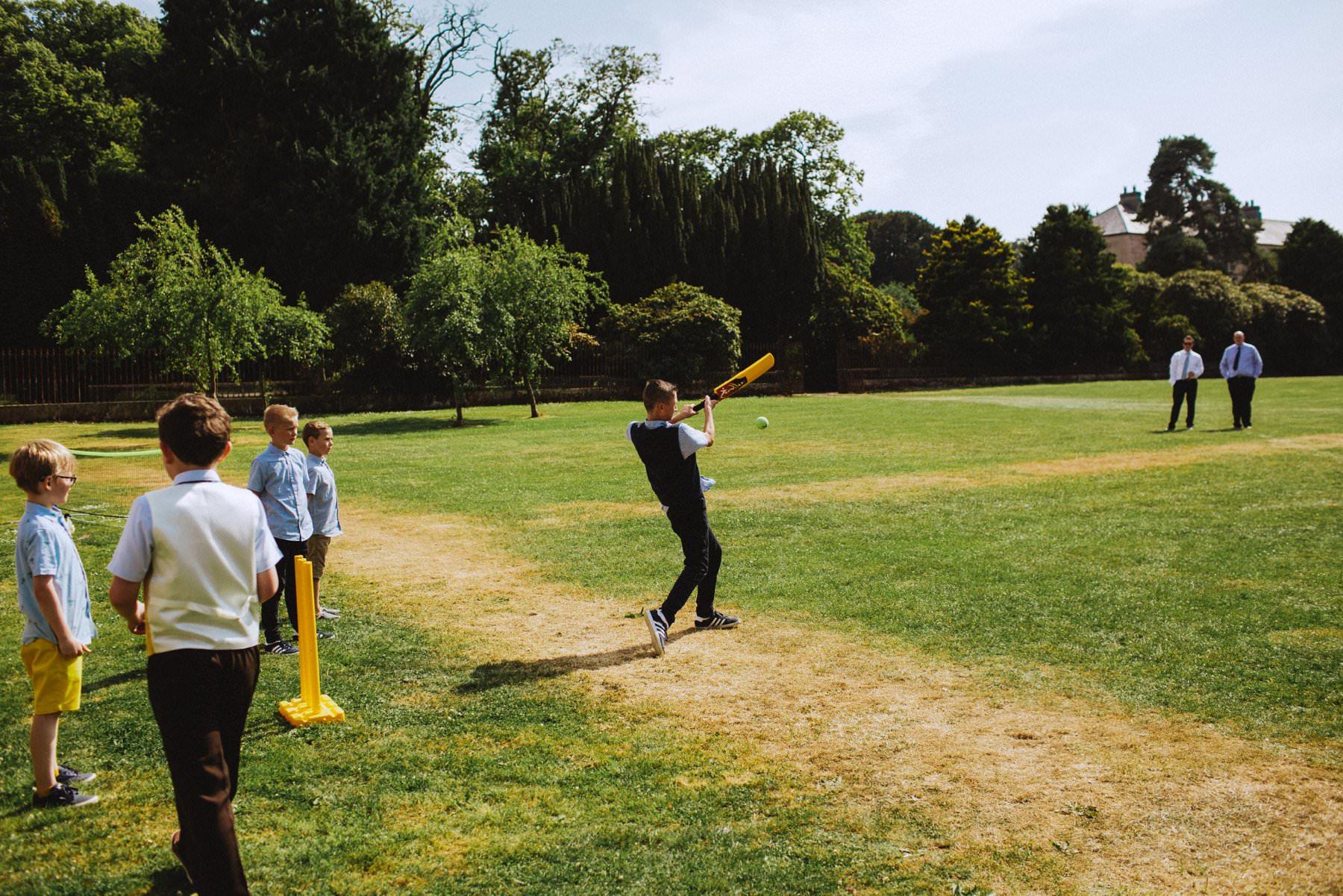 playing cricket at larchfield estate northern ireland